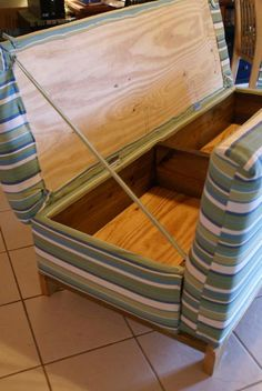 Build a sofa with storage - plan from Ana White. Could use sunbrella fabric for an outdoor sofa.