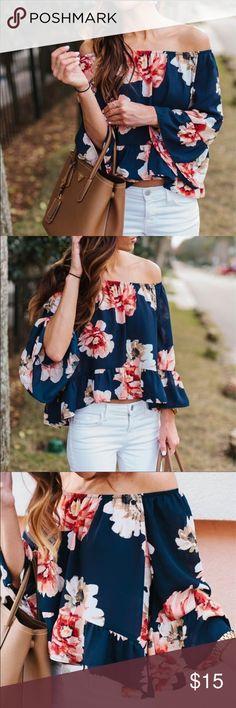 Off the shoulder women's blouse Adorable summer / fall off the shoulder blouse with flowers! Tops Blouses