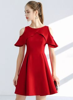 In Stock:Ship in 48 hours Red Satin Short Homecoming Dress - Homecoming Dresses Cute Red Dresses, Trendy Dresses, Casual Dresses, Short Dresses, Fashion Dresses, Women's Fashion, Fashion Trends, Dresses For Teens, Girls Dresses