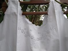 Victorian White Slip Dress Bow Dots Monogram Hand Embroidered French Cotton Nightgown Large #sophieladydeparis