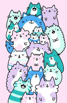 Pastel Pile of Cats by KiraKiraDoodles