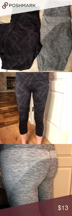 RBX workout capris Pair of RBX workout capris. Black with accents, gray pair has stitching detail around the butt across to the front of the legs. Super cute fit great, not too tight. Fit to mid calf RBX Pants Capris