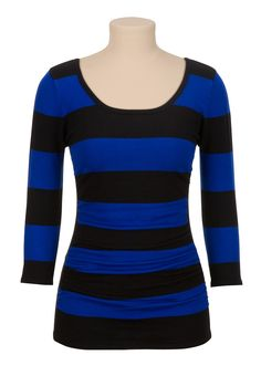 Ruched side stripe pullover sweater