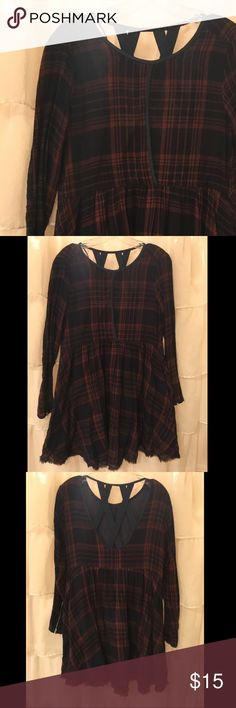 Paper Crane Plaid Dress Dark orange and navy plaid dress. Hits just above the knees with rag hemline. Long sleeved with zippers at sleeve ends. Large overlapping keyhole in front, and pretty open back detail in back. Never worn. Paper Crane Dresses Midi