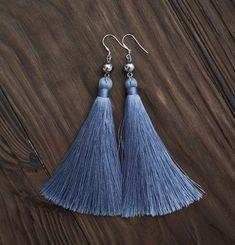 Pendientes espiga gris con cristal perlas Moda flecos