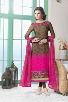 FABULOUS AND INCREDIBLE FRENCH CREPE STRAIGHT CUT SUIT WITH PRINTED GEORGETTE DUPATTA FIVS-5608