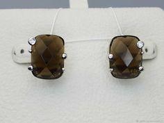 Materials: rauchtopaz, cubic zirconia, silver Size: 16x14 mm ##handmade Cubic Zirconia Earrings, Silver Earrings, Handmade, Free, Products, Hand Made, Gadget, Handarbeit