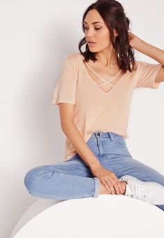Missguided - V-Neck Cross Strap Front T-Shirt Nude