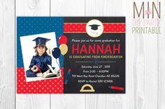 Kindergarten Graduation Photo Invitation,Graduation Party Invitation, graduation party,graduation invite,Preschool Graduation Invitation by minprintable on Etsy https://www.etsy.com/listing/260956030/kindergarten-graduation-photo