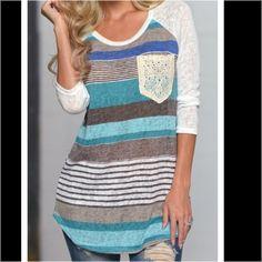 Lace pocket 3/4 sleeve tshirt NWOT Lace Pocket 3/4 sleeve tshirt. Sheer sleeves. Light & comfy.  trades ❤️ bundle & SAVE! New Light Tops Tees - Long Sleeve