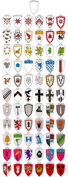A Game of Clothes — 206 different sigils of Westeros! Game Of Thrones Cards, Game Of Thrones Map, Game Of Thrones Houses, Gane Of Thrones, Medieval, Winter Is Here, Fire And Ice, Crests, Coat Of Arms