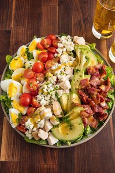Best Cobb Salad Recipe - How to Make Cobb Salad Bet you didn't think it was possible to love avocado more than in guac. This is the most excited you'll ever be to eat a salad.Looking for more ways to get your avocado fix? Salad Recipes For Dinner, Summer Salad Recipes, Healthy Recipes, Healthy Salad Recipes, Healthy Meals, Cooking Recipes, Cooking Tips, Side Recipes, Healthy Food