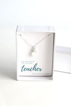 If you're looking for a teacher's gift take a look at this Sterling Silver Teacher Apple Necklace. Tiny silver apple charm on a silver chain is a beautiful gift to represent gratitude for a special teacher.