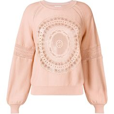 Chloé lace bell sleeve sweater (13.065.350 IDR) ❤ liked on Polyvore featuring tops, sweaters, pink lace top, boho tops, lace top, long fringe sweater and long pink sweater