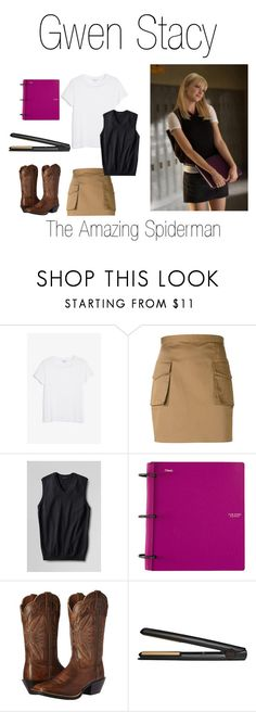 """""""Gwen Stacy 4"""" by madelinem-2002 ❤ liked on Polyvore featuring Monki, Dsquared2, Lands' End, Ariat, MISBHV, GHD, fandom, marvel, Superhero and spiderman"""