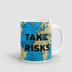Take Risks - World Map - Mug - airportag  - 1