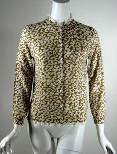 J CREW Brown Ivory Print Cardigan Sweater Size Medium #JCrew #Cardigan