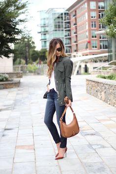 Army Green Jacket + GiGi NY Bag