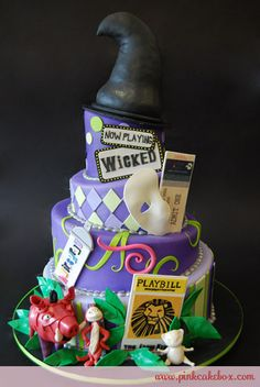 Broadway Cake pays tribute to several different shows, one on each tier, including Wicket, Phantom of the Opera, and Lion King