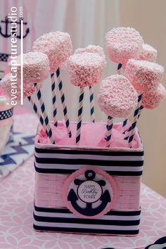 Preppy Nautical Pink Navy First Birthday
