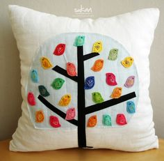 Birds - white linen pillow cover. $55.50