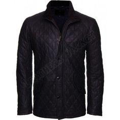 Men's Versatile Black Leather Jacket, Men quilted leather