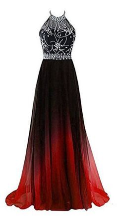 A-line Halter Gradient Chiffon Long Prom Dress Ombre Beads Evening Dresses,N662 #gradient #ombre #beads #beading #promdress #halter #A-line #chiffon #fashion