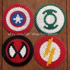 Items similar to SALE Super Heroes Coasters (set of on Etsy Set of 4 super hero coasters made from hama beads. Designs includes The Flash, Spiderman, Captain America and the Green Lantern. Each measure 3 Hama Beads Coasters, Diy Perler Beads, Perler Bead Art, Pearler Beads, Fuse Beads, Perler Bead Designs, Perler Bead Templates, Hama Beads Design, Melty Bead Patterns