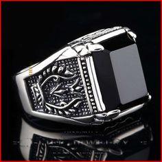 2014 mode 925 Sterling Silver Retro pengadilan Retro batu akik hitam alami cincin Claddagh Mens dengan batu untuk bangsawan di Cincin dari Perhiasan AliExpress.com | Alibaba Group