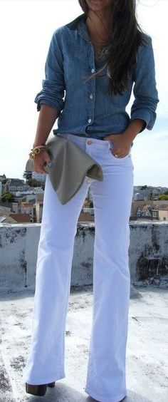 White pants - Button down shirt
