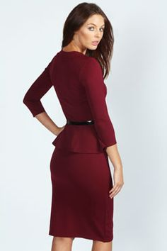 Kendal Long Sleeve Belted Peplum Midi Dress