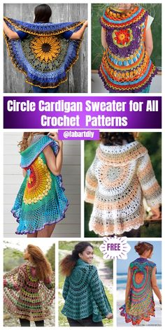 DIY Crochet Cardigan Sweater Free Patterns DIY Crochet Circle Cardigan Sweater Free Patterns & Paid Always aspired to be able to knit, yet unsure where to start? Diy Crochet Cardigan, Crochet Circle Vest, Black Crochet Dress, Crochet Coat, Crochet Circles, Crochet Cardigan Pattern, Crochet Clothes, Crochet Shawl, Crochet Patterns