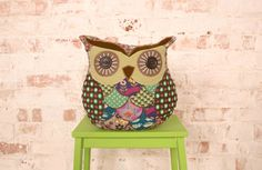 Mabel Patchwork Owl Cushion Retro Look £16.25