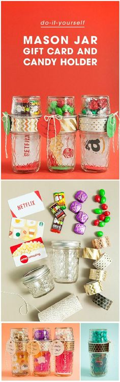 160 DIY Mason Jar Crafts and Gift Ideas - Page 3 of 17 - DIY & Crafts, hide the card in candy