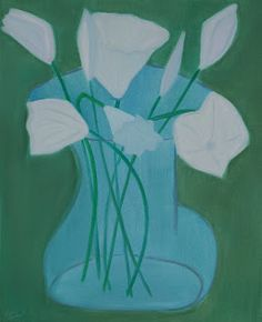 """Flowers, Blue and Green  oil/canvas, 32x28"""""""
