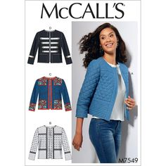Sewing Fabric McCall's Pattern Misses' Open-Front Banded - Semi-fitted jackets have front and back yoke, front and back lower bands and sleeve band. B: Contrast yokes and bands. C: Contrast yokes and bands. NEW AND UNUSED Coat Patterns, Clothing Patterns, Jacket Sewing Patterns, Vogue Patterns, Band Jacket, Mccalls Sewing Patterns, Jacket Pattern, Quilted Jacket, Sewing Clothes