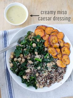 Get your veggies on with this vegan kale bowl! A vibrant-nutrient packed bowl tossed with a creamy miso-caesar dressing. Vegan and Gluten Free.