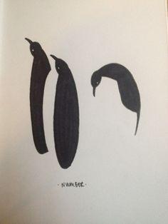 Penguins in Black on White