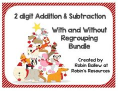 This holiday/winter themed set of 64 cards contains a mix of two digit addition and subtraction problems with and without regrouping.