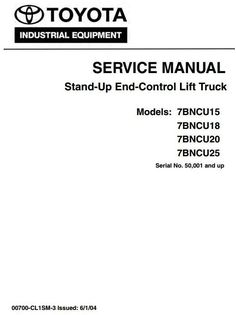 Toyota Truck 5FBC13, 5FBC15, 5FBC18, 5FBC20, 5FBC25