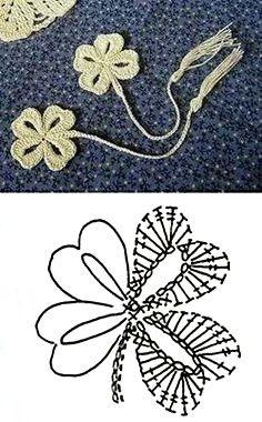 crochet clover leaf diagram The Effective Pictures We Offer You About tricot et crochet A quality pi Marque-pages Au Crochet, Appliques Au Crochet, Crochet Flower Patterns, Crochet Books, Crochet Diagram, Crochet Chart, Thread Crochet, Love Crochet, Irish Crochet
