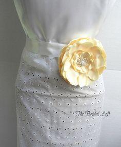 Pale Yellow Satin Dress Sash, Yellow Flower Dress Sash, Yellow Wedding, by BridalLoft on Etsy