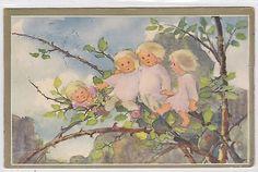 The Tree Fairy Girls vintage 1930s Artist MILLIE WEBER Signed postcard e354