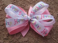 """5"""" Happy Birthday Double Layer Boutique Style Hair Bow! $6"""