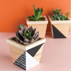 Pamper your plants with inexpensive DIY planters! Basket Planters, Wooden Planters, Flower Planters, Diy Planters, Planter Boxes, Flower Pots, Plant Wall, Plant Decor, Diy Home Crafts