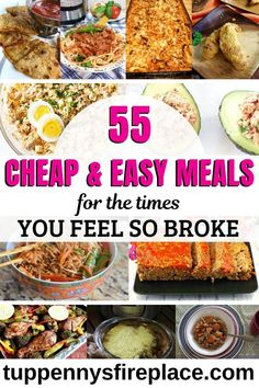 55 Cheap And Easy Meals You Are Going To Love 55 cheap & easy dinners for you to try. Simple budget meals including crock pot, vegetarian, vegan, keto and paleo. Cut your groceries budget and save money. Cheap Healthy Dinners, Cheap Easy Meals, Inexpensive Meals, Cheap Dinners, Healthy Meals For Two, Frugal Meals, Budget Meals, Easy Healthy Recipes, Paleo Recipes