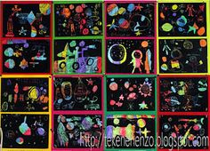 Scratch art - crayon drawing painted over with black paint Artists For Kids, Art For Kids, Artists Space, 4 Kids, Children, Kratz Kunst, Happy Monster, Black Construction Paper, Drawing Sheet