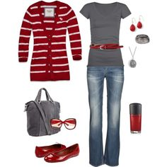 Love grey and red! Look Fashion, Autumn Fashion, Fashion Outfits, Womens Fashion, Red Fashion, Fashion Shoes, Urban Fashion, Diva Fashion, Fashion Ideas