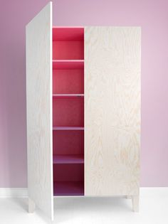gradiated colour plywood cabinet