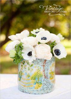 centre de table vintage #anemone #fleurs #mariage